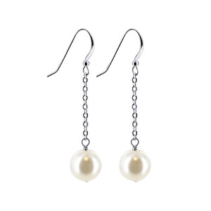 White Faux Pearl Swarovski Elements Drop Earrings