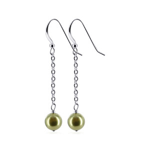 Olive Faux Pearl Drop Earrings