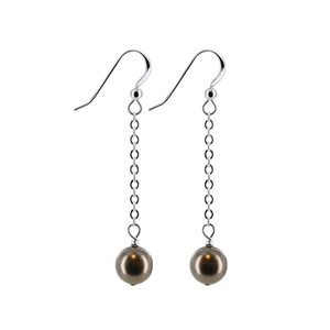 Dark Brown Faux Pearl Drop Earrings
