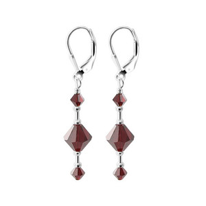 Swarovski Elements Siam Crystal 925 Silver Drop Earrings