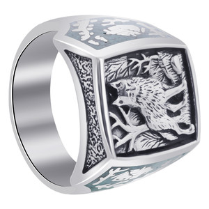 Mens 925 Sterling Silver Turquoise Gemstone Southwestern Style Wolf Ring