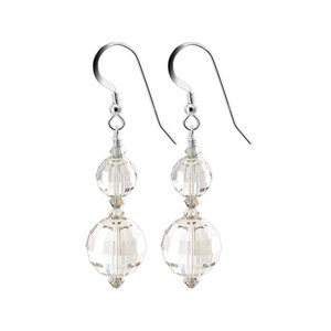 Round Silver Shade Crystal 925 Silver Drop Earrings