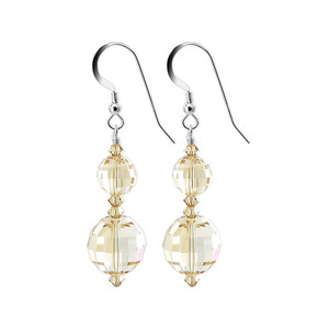 Multifaceted Yellow Crystal 925 Silver Drop Earrings