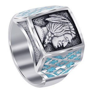 Men's 925 Silver Turquoise Southwestern Style Ring