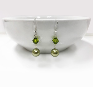 Olive Faux Pearl Green Drop Earrings