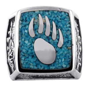 Men's Silver Turquoise Bear Paw Southwestern Style Ring