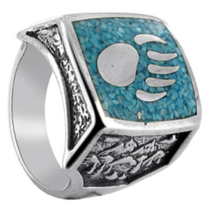 Mens 925 Sterling Silver Turquoise Gemstone Bear Paw Southwestern Style Ring