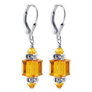 Orange Cube Crystal 925 Silver Drop Earrings