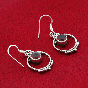 Garnet Gemstone Sterling Silver Drop Earrings