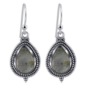 Pear Shape Labradorite Gemstone 925 Silver Drop Earrings
