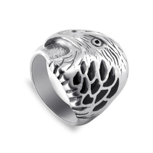 Simulated Black Onyx Resin Eagle 925 Silver Ring