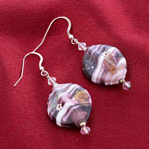 Lamp Work Glass Beads Drop Earrings