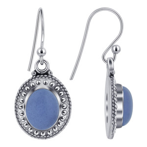 Chalcedony Gemstone 925 Silver Drop Earrings