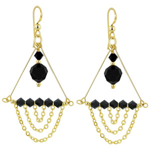 14K Gold Filled Black Crystal Chandelier Drop Earrings