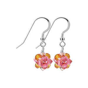 Orange Pink Crystal Sterling Silver Drop Earrings