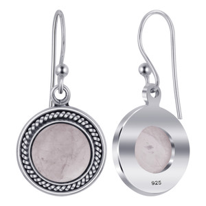 Rose Quartz Gemstone 925 Silver Drop Earrings