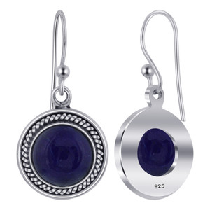Lapis Lazuli Gemstone 925 Silver Drop Earrings