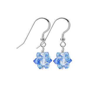Blue Clear Crystal Drop Earrings