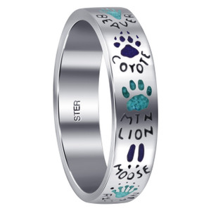 Men's 925 Silver Turquoise & Coral Animal Paw Band