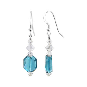 Blue & Clear Crystal Sterling Silver Drop Earrings