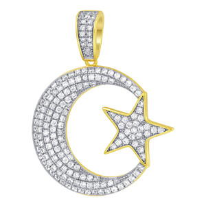 Gold over Silver CZ Moon Star Vermeil Pendant