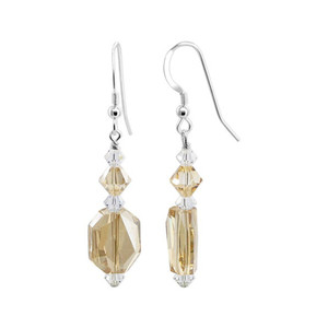 Brown Clear Crystal Sterling Silver Drop Earrings