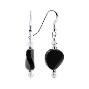 Black Clear Crystal 925 Silver Drop Earrings