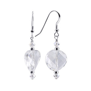 Clear Crystal Sterling Silver Drop Earrings