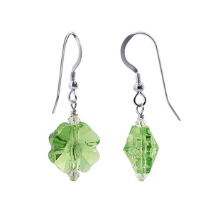 Green Crystal Handmade Drop Earrings