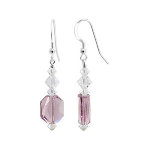 Light Purple Clear Crystal Sterling Silver Drop Earrings