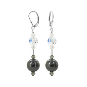 Faux Pearl with Clear AB Crystal 925 Silver Earrings