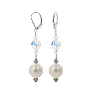 Faux Pearl with Clear AB Crystal Sterling Silver Earrings