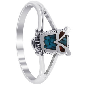 Turquoise and Coral Gemstone Sterling Silver Ring
