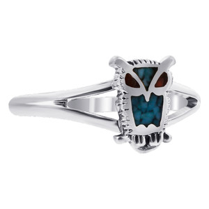 925 Silver Turquoise & Coral Southwestern Style Owl Ring