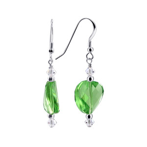 Green and Clear Crystal Sterling Silver Drop Earrings