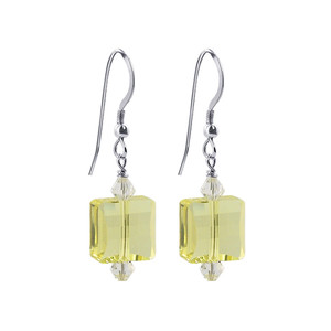 Square Yellow Crystal Handmade Drop Earrings