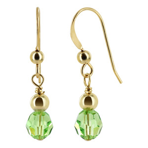 Gold filled 4mm Ball with 6mm Round Swarovski Elements Green Crystal Drop Earrings