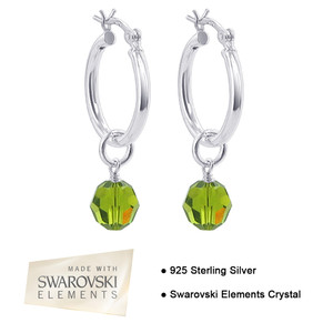 Olivine Crystal on Hoop Handmade Drop Earrings