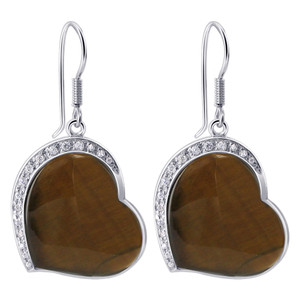 Heart Shape Tiger Eye with CZ Cubic Zirconia Sterling Silver Fish Hook Drop Earrings