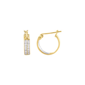 Gold Round Cut Diamonds Hoop Earrings