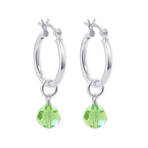Light Green Crystal on Hoop Handmade Drop Earrings