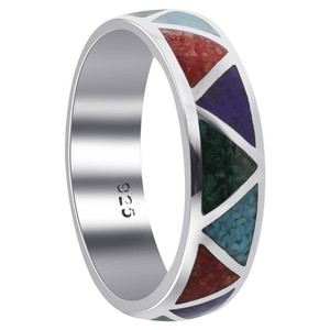 Multi Gemstone Sterling Silver Band