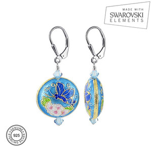 Cloisonne Bead with Swarovski Elements Crystal Sterling Silver Leverback Handmade Drop Earrings