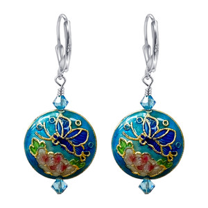 Cloisonne Bead Leverback Handmade Drop Earrings