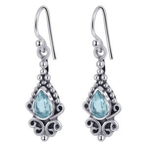 Teardrop Shape Blue Topaz Gemstone Earrings