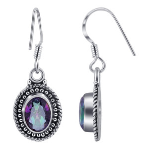 Mystic Topaz Gemstone 925 Silver Drop Earrings