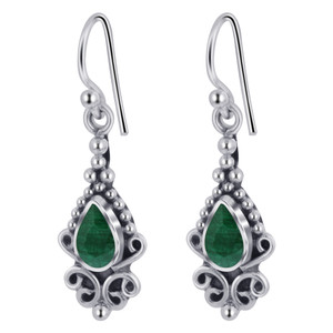 Teardrop Shape Emerald Gemstone French Hook Earrings