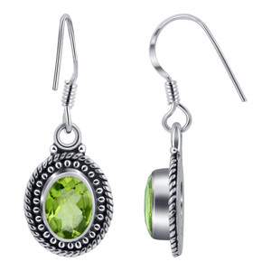 Peridot Gemstone 925 Silver Drop Earrings
