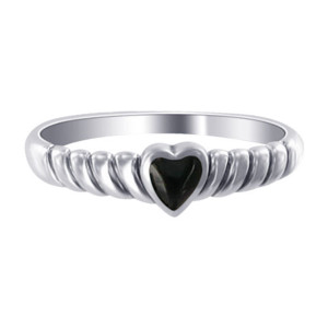 Simulated Black Onyx Sterling Silver Ring