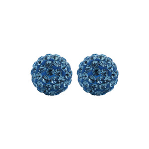 6mm Round Blue Crystal Ball Stud Earrings